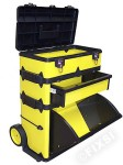"Valise ""TROLLEY"" PVC jaune fluo"